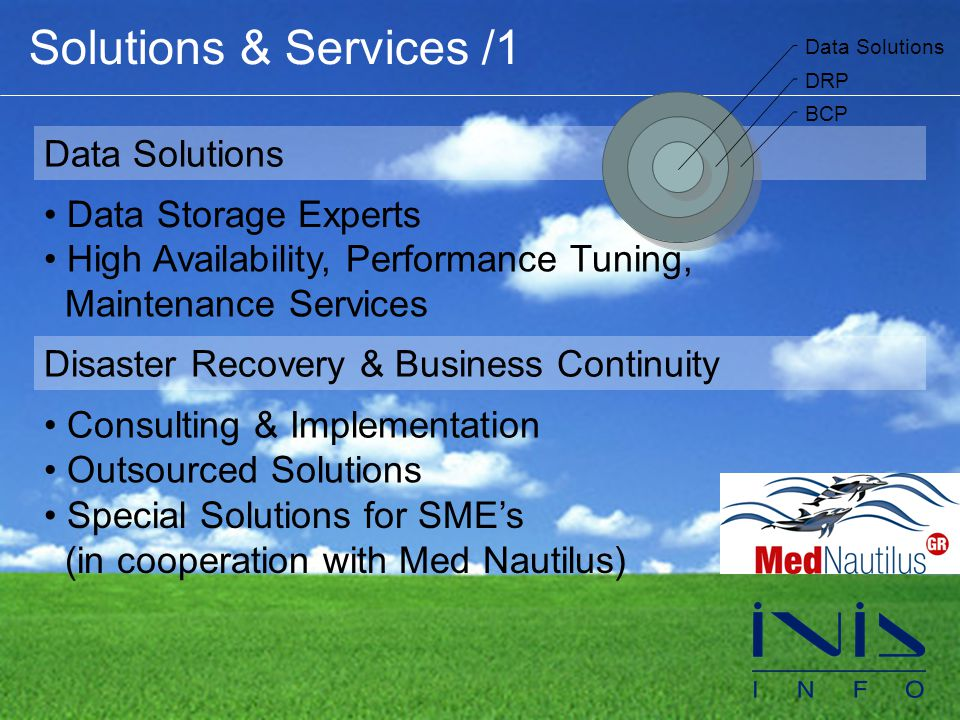 Solutions & Services /1 Data Solutions • Data Storage Experts • High Availability, Performance Tuning, Maintenance Services Disaster Recovery & Business Continuity • Consulting & Implementation • Outsourced Solutions • Special Solutions for SME's (in cooperation with Med Nautilus) Data Solutions DRP BCP