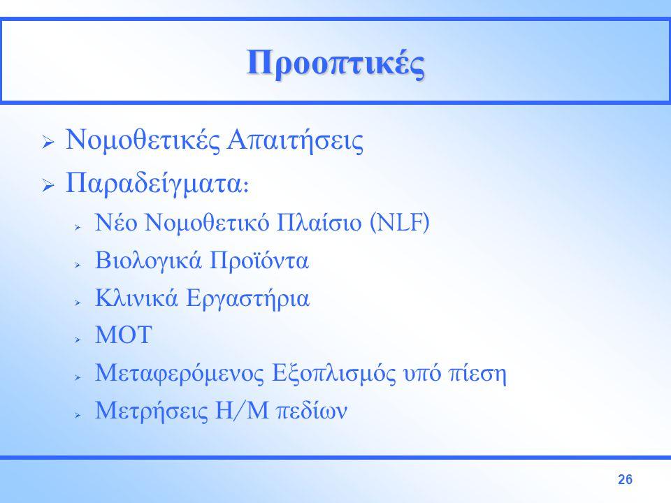 Προο π τικές  Νομοθετικές Α π αιτήσεις  Παραδείγματα :  Νέο Νομοθετικό Πλαίσιο (NLF)  Βιολογικά Προϊόντα  Κλινικά Εργαστήρια  ΜΟΤ  Μεταφερόμενος Εξο π λισμός υ π ό π ίεση  Μετρήσεις Η / Μ π εδίων 26