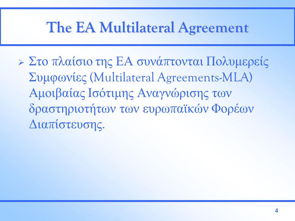 4 The EA Multilateral Agreement  Στο π λαίσιο της ΕΑ συνά π τονται Πολυμερείς Συμφωνίες (Multilateral Agreements-MLA) Αμοιβαίας Ισότιμης Αναγνώρισης των δραστηριοτήτων των ευρω π αϊκών Φορέων Δια π ίστευσης.