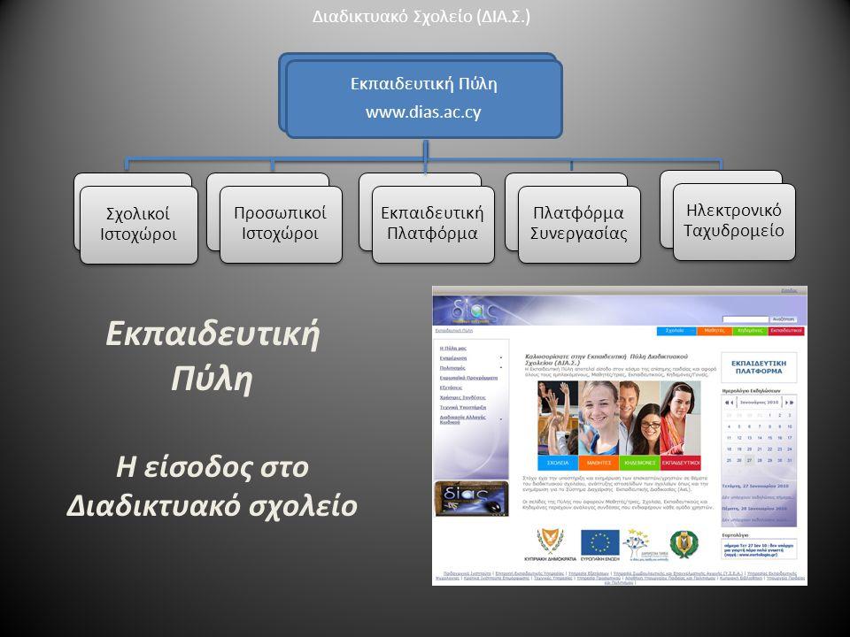 Εκπαιδευτική Πύλη www.dias.ac.cy Σχολικοί Ιστοχώροι Προσωπικοί Ιστοχώροι Πλατφόρμα Συνεργασίας Πλατφόρμα Συνεργασίας Ηλεκτρονικό Ταχυδρομείο Εκπαιδευτική Πύλη Η είσοδος στο Διαδικτυακό σχολείο Διαδικτυακό Σχολείο (ΔΙΑ.Σ.) Εκπαιδευτική Πλατφόρμα