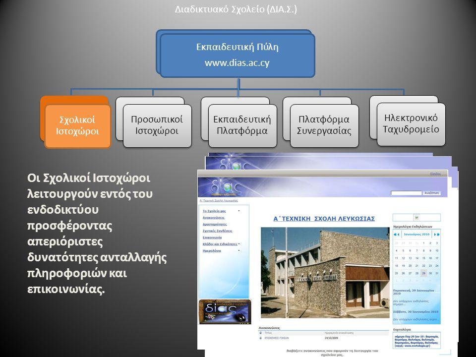 Εκπαιδευτική Πύλη www.dias.ac.cy Σχολικοί Ιστοχώροι Οι Σχολικοί Ιστοχώροι λειτουργούν εντός του ενδοδικτύου προσφέροντας απεριόριστες δυνατότητες ανταλλαγής πληροφοριών και επικοινωνίας.