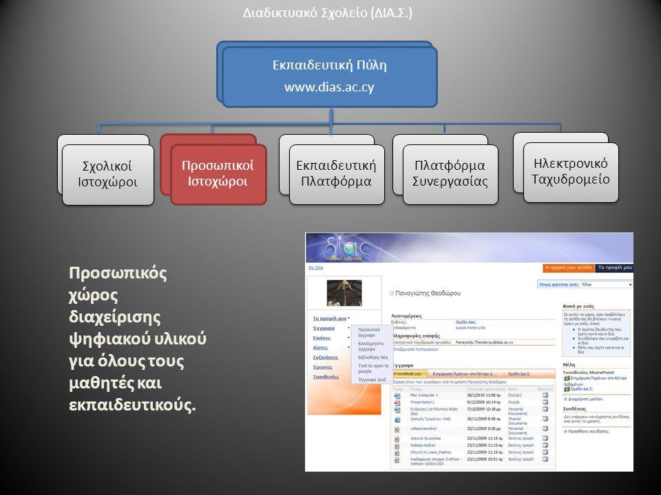 Εκπαιδευτική Πύλη www.dias.ac.cy Προσωπικοί Ιστοχώροι Πλατφόρμα Συνεργασίας Πλατφόρμα Συνεργασίας Ηλεκτρονικό Ταχυδρομείο Σχολικοί Ιστοχώροι Προσωπικός χώρος διαχείρισης ψηφιακού υλικού για όλους τους μαθητές και εκπαιδευτικούς.