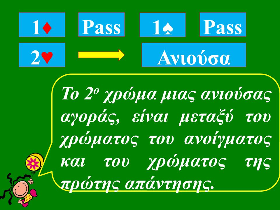 1♦1♦ Pass Ανιούσα Pass 2♥2♥ 1♠1♠ To 2 ο χρώμα μιας ανιούσας αγοράς, είναι μεταξύ του χρώματος του ανοίγματος και του χρώματος της πρώτης απάντησης.