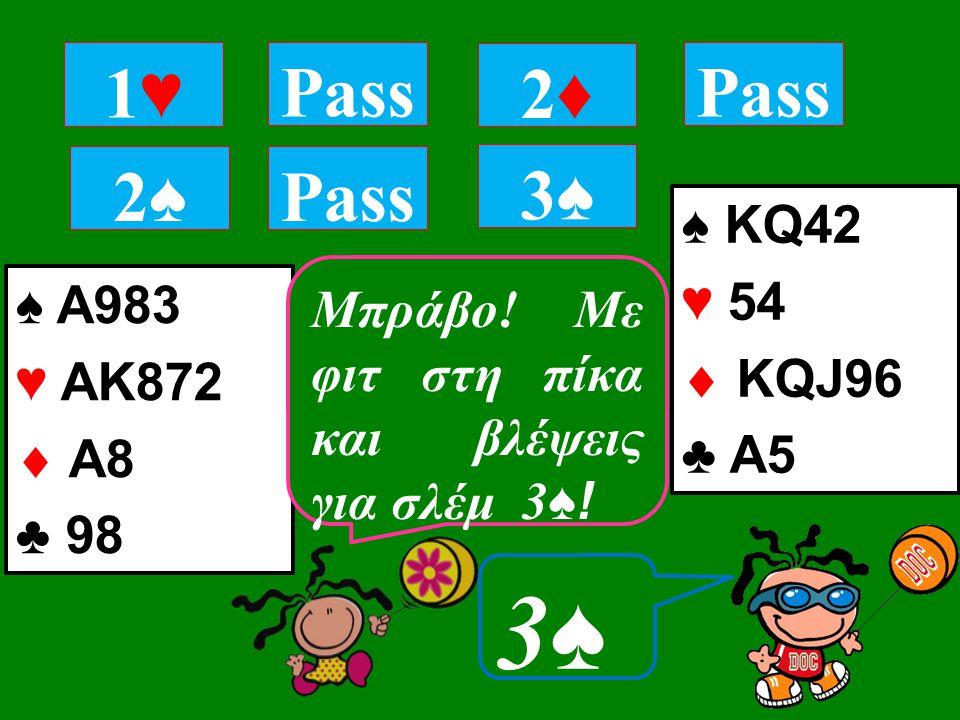 ♠ A983 ♥ ΑΚ872  Α8 ♣ 98 1♥1♥ Pass 2♠2♠ 2♦2♦ ♠ ΚQ42 ♥ 54  KQJ96 ♣ A5 3♠3♠ 3♠3♠ Τι αγοράζεις; Μπράβο.