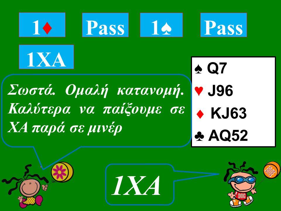 ♠ Q7 ♥ J96  KJ63 ♣ AQ52 1♦1♦ Tι επαναδηλώνεις με αυτό το χέρι; 1XA Pass 1♠1♠ 1XA Σωστά.