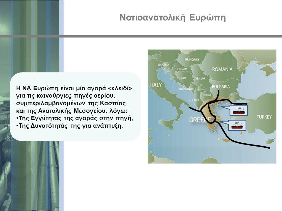 Νοτιοανατολική Ευρώπη Η ΝΑ Ευρώπη είναι μία αγορά «κλειδί» για τις καινούργιες πηγές αερίου, συμπεριλαμβανομένων της Κασπίας και της Ανατολικής Μεσογε