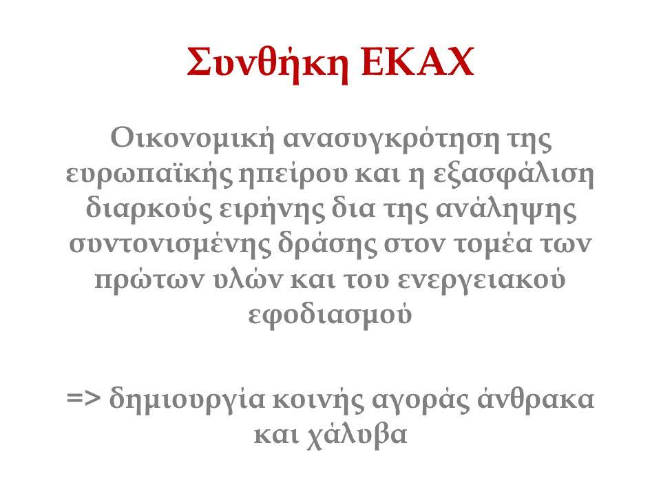Συνθήκη ΕΚΑΧ Οικονομική ανασυγκρότηση της ευρωπαϊκής ηπείρου και η εξασφάλιση διαρκούς ειρήνης δια της ανάληψης συντονισμένης δράσης στον τομέα των πρ