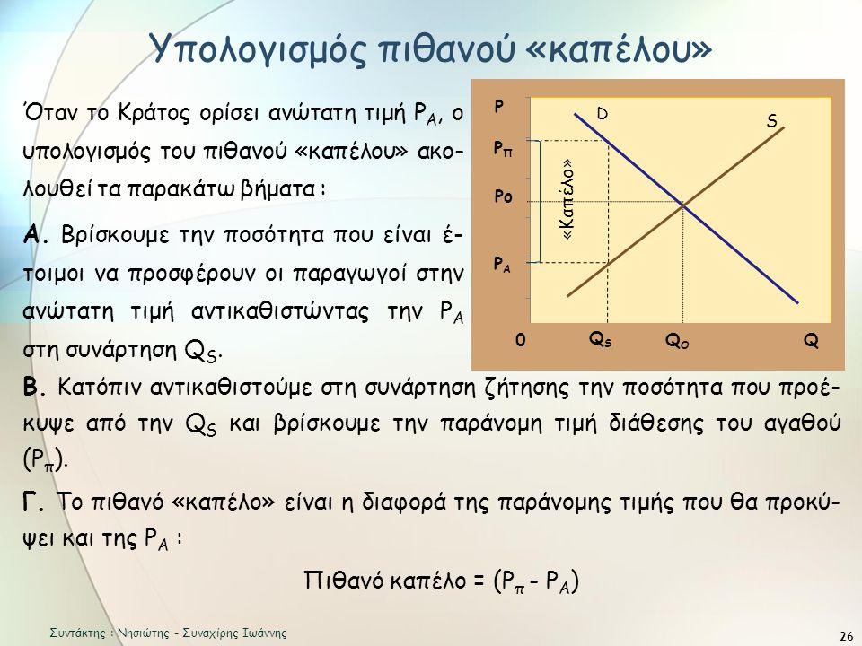 26 Όταν το Κράτος ορίσει ανώτατη τιμή Ρ Α, ο υπολογισμός του πιθανού «καπέλου» ακο- λουθεί τα παρακάτω βήματα : Α.