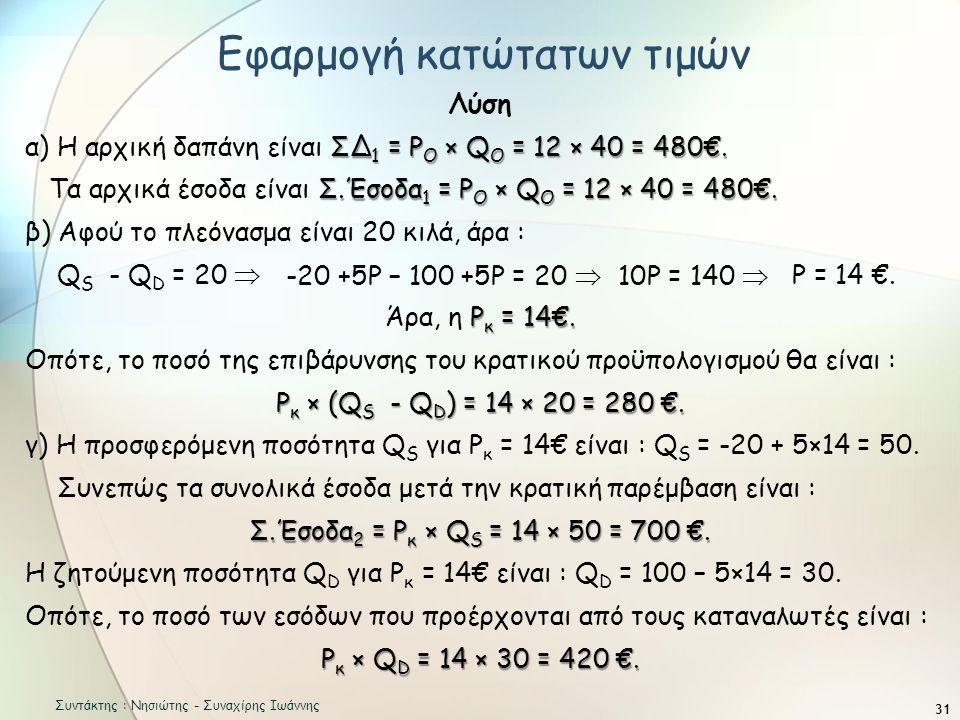 31 Λύση ΣΔ 1 = Ρ O × Q O = 12 × 40 = 480€.