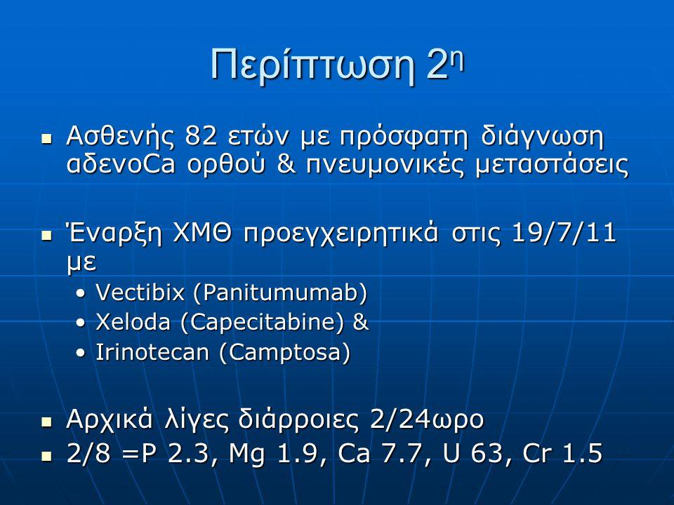 Περίπτωση 2 η  Ασθενής 82 ετών με πρόσφατη διάγνωση αδενοCa ορθού & πνευμονικές μεταστάσεις  Έναρξη ΧΜΘ προεγχειρητικά στις 19/7/11 με •Vectibix (Pa
