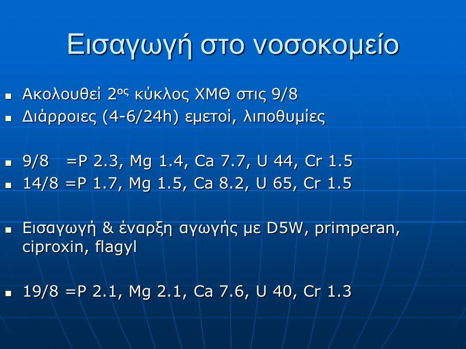 Εισαγωγή στο νοσοκομείο  Ακολουθεί 2 ος κύκλος ΧΜΘ στις 9/8  Διάρροιες (4-6/24h) εμετοί, λιποθυμίες  9/8 =P 2.3, Mg 1.4, Ca 7.7, U 44, Cr 1.5  14/