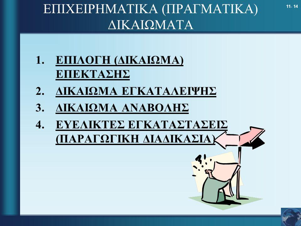 11- 14 ΕΠΙΧΕΙΡΗΜΑΤΙΚΑ (ΠΡΑΓΜΑΤΙΚΑ) ΔΙΚΑΙΩΜΑΤΑ 1.ΕΠΙΛΟΓΗ (ΔΙΚΑΙΩΜΑ) ΕΠΕΚΤΑΣΗΣ 2.ΔΙΚΑΙΩΜΑ ΕΓΚΑΤΑΛΕΙΨΗΣ 3.ΔΙΚΑΙΩΜΑ ΑΝΑΒΟΛΗΣ 4.ΕΥΕΛΙΚΤΕΣ ΕΓΚΑΤΑΣΤΑΣΕΙΣ (ΠΑ