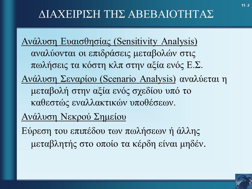 11- 2 ΔΙΑΧΕΙΡΙΣΗ ΤΗΣ ΑΒΕΒΑΙΟΤΗΤΑΣ Ανάλυση Ευαισθησίας (Sensitivity Analysis) αναλύονται οι επιδράσεις μεταβολών στις πωλήσεις τα κόστη κλπ στην αξία ε