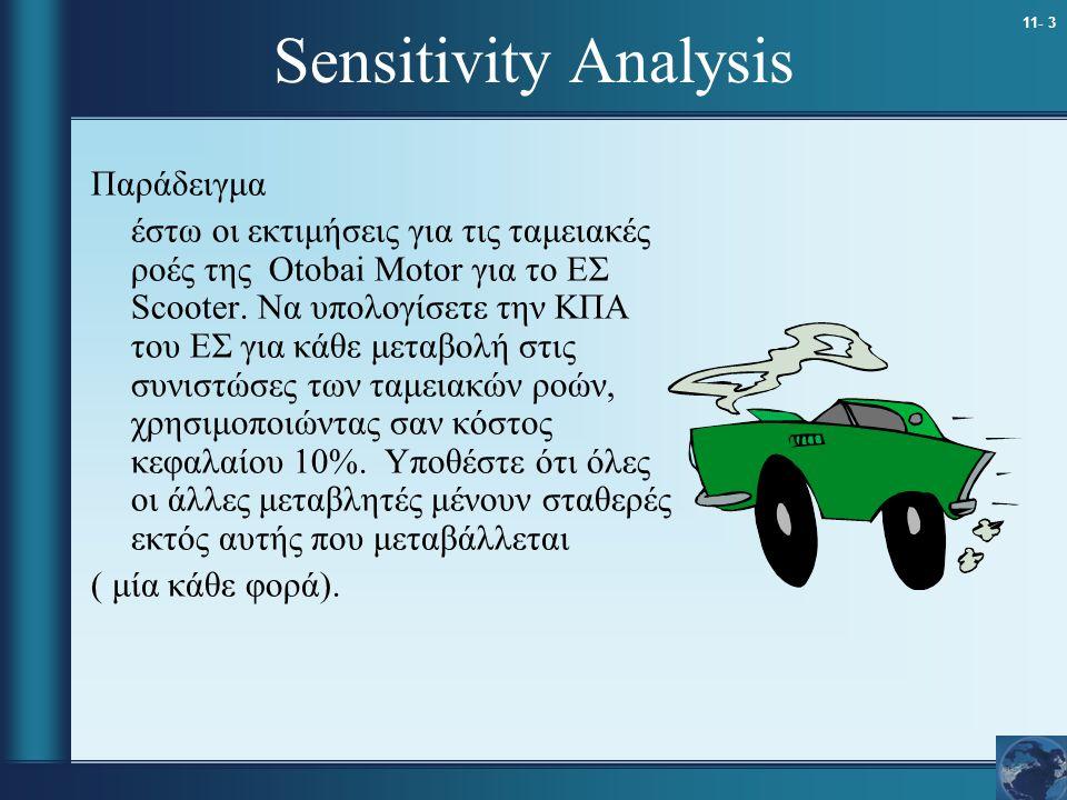 11- 3 Sensitivity Analysis Παράδειγμα έστω οι εκτιμήσεις για τις ταμειακές ροές της Otobai Motor για το ΕΣ Scooter. Να υπολογίσετε την ΚΠΑ του ΕΣ για