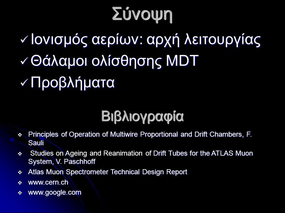  Ιονισμός αερίων: αρχή λειτουργίας  Θάλαμοι ολίσθησης MDT  Προβλήματα Σύνοψη  Principles of Operation of Multiwire Proportional and Drift Chambers