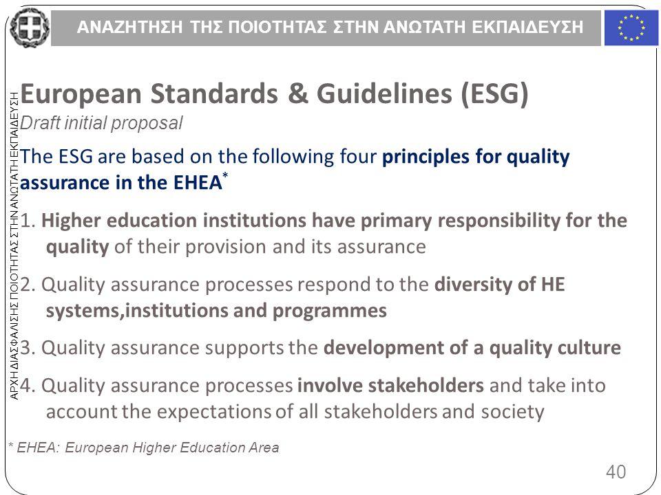ΑΝΑΖΗΤΗΣΗ ΤΗΣ ΠΟΙΟΤΗΤΑΣ ΣΤΗΝ ΑΝΩΤΑΤΗ ΕΚΠΑΙΔΕΥΣΗ 40 ΑΡΧΗ ΔΙΑΣΦΑΛΙΣΗΣ ΠΟΙΟΤΗΤΑΣ ΣΤΗΝ ΑΝΩΤΑΤΗ ΕΚΠΑΙΔΕΥΣΗ European Standards & Guidelines (ESG) Draft initial proposal The ESG are based on the following four principles for quality assurance in the EHEA * 1.