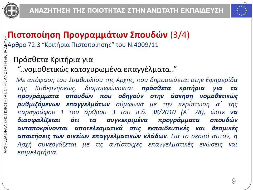ΑΝΑΖΗΤΗΣΗ ΤΗΣ ΠΟΙΟΤΗΤΑΣ ΣΤΗΝ ΑΝΩΤΑΤΗ ΕΚΠΑΙΔΕΥΣΗ 9 ΑΡΧΗ ΔΙΑΣΦΑΛΙΣΗΣ ΠΟΙΟΤΗΤΑΣ ΣΤΗΝ ΑΝΩΤΑΤΗ ΕΚΠΑΙΔΕΥΣΗ Πιστοποίηση Προγραμμάτων Σπουδών (3/4) Άρθρο 72.3 Κριτήρια Πιστοποίησης του Ν.4009/11 Πρόσθετα Κριτήρια για ..νομοθετικώς κατοχυρωμένα επαγγέλματα.. Με απόφαση του Συμβουλίου της Αρχής, που δημοσιεύεται στην Εφημερίδα της Κυβερνήσεως, διαμορφώνονται πρόσθετα κριτήρια για τα προγράμματα σπουδών που οδηγούν στην άσκηση νομοθετικώς ρυθμιζόμενων επαγγελμάτων σύμφωνα με την περίπτωση α΄ της παραγράφου 1 του άρθρου 3 του π.δ.