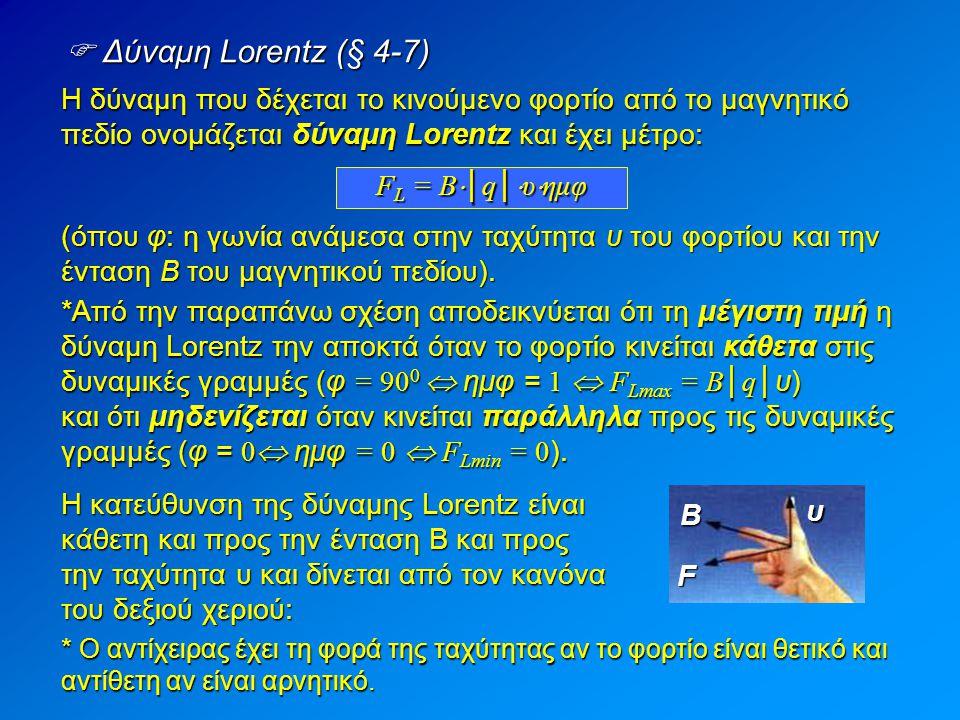  Παραδείγματα του κανόνα των 3 δακτύλων (§ 4-7) Βρείτε σε κάθε μια από τις παρακάτω περιπτώσεις την κατεύθυνση της δύναμης Lorentz.