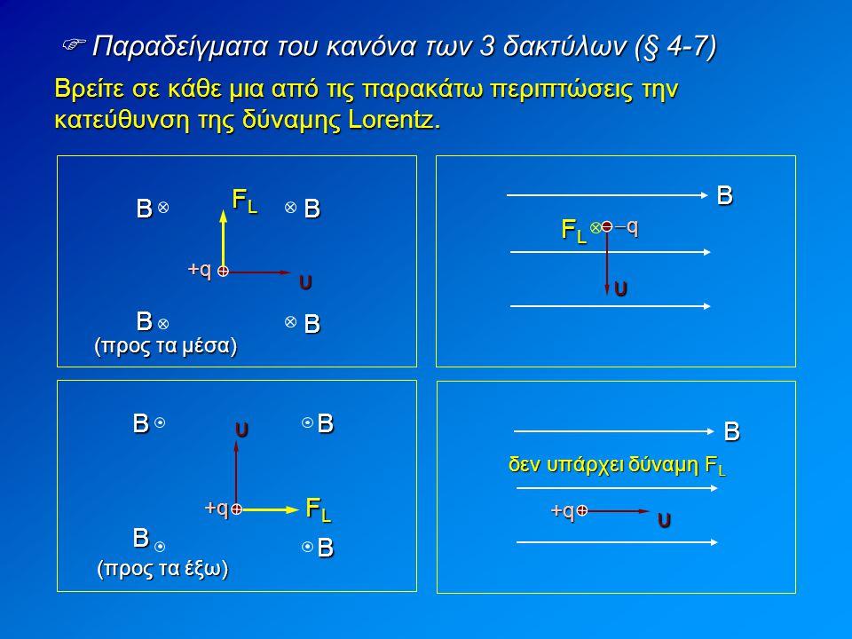  Αριθμητικό παράδειγμα της δύναμης Lorentz (§ 4-7) Το σωματίδιο του σχήματος, μάζας 8 g και φορτίου 6 μC, μπαίνει κάθετα στις δυναμικές γραμμές ομογενούς μαγνητικού πεδίου έντασης 2 T με ταχύτητα 2000 m/s.
