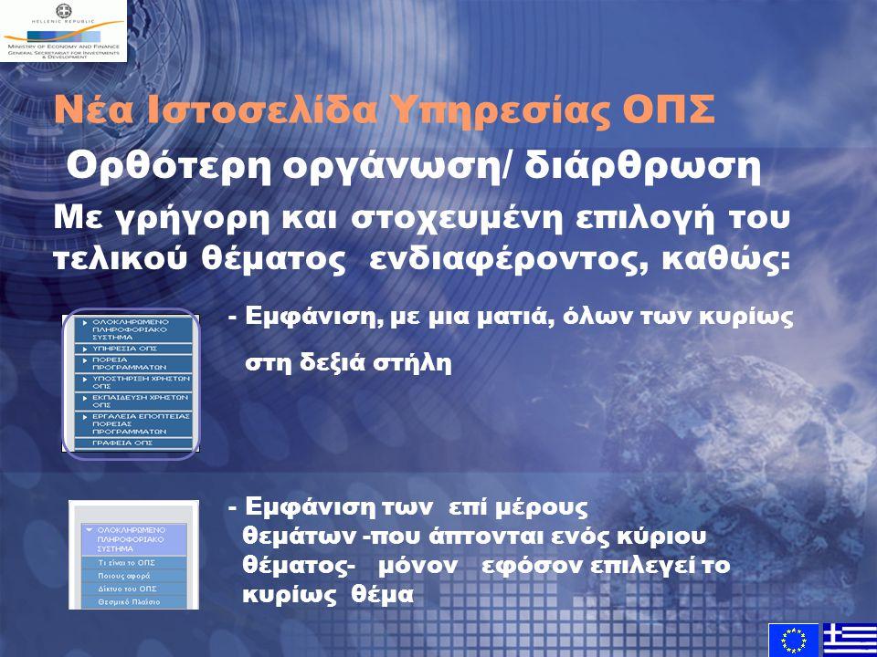 Νέα Ιστοσελίδα Υπηρεσίας ΟΠΣ Ορθότερη οργάνωση/ διάρθρωση Με γρήγορη και στοχευμένη επιλογή του τελικού θέματος ενδιαφέροντος, καθώς: - Εμφάνιση, με μ
