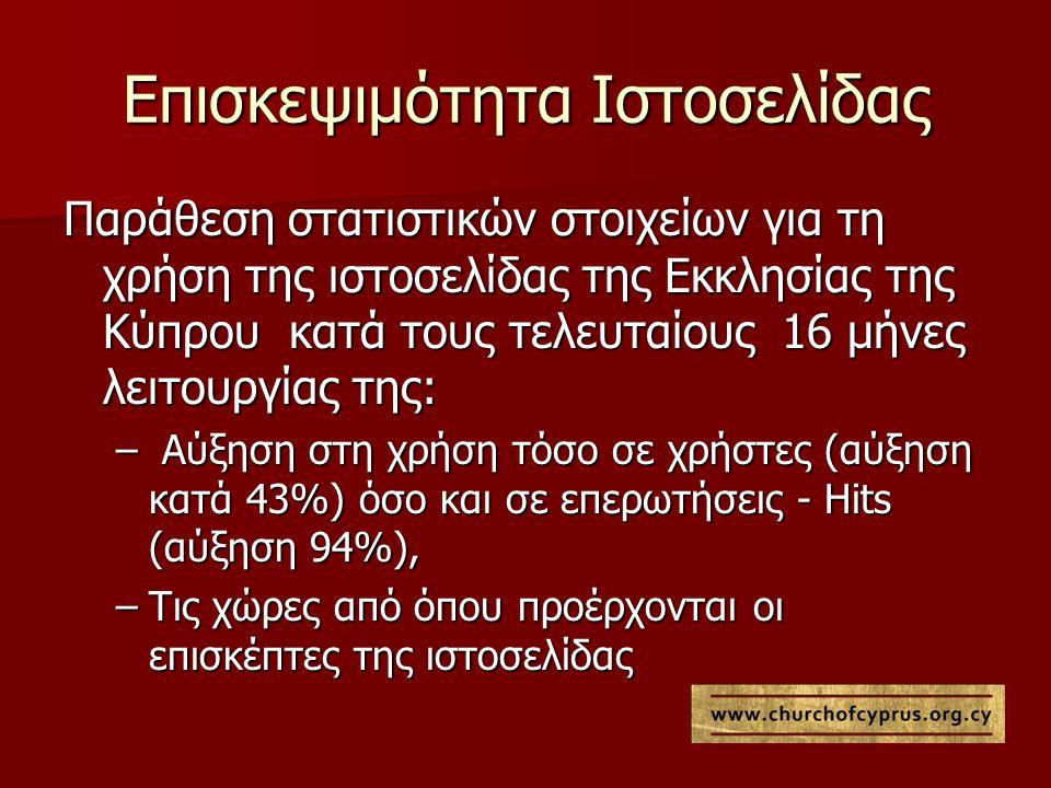 Επισκεψιμότητα Ιστοσελίδας Παράθεση στατιστικών στοιχείων για τη χρήση της ιστοσελίδας της Εκκλησίας της Κύπρου κατά τους τελευταίους 16 μήνες λειτουργίας της: – Αύξηση στη χρήση τόσο σε χρήστες (αύξηση κατά 43%) όσο και σε επερωτήσεις - Hits (αύξηση 94%), –Τις χώρες από όπου προέρχονται οι επισκέπτες της ιστοσελίδας