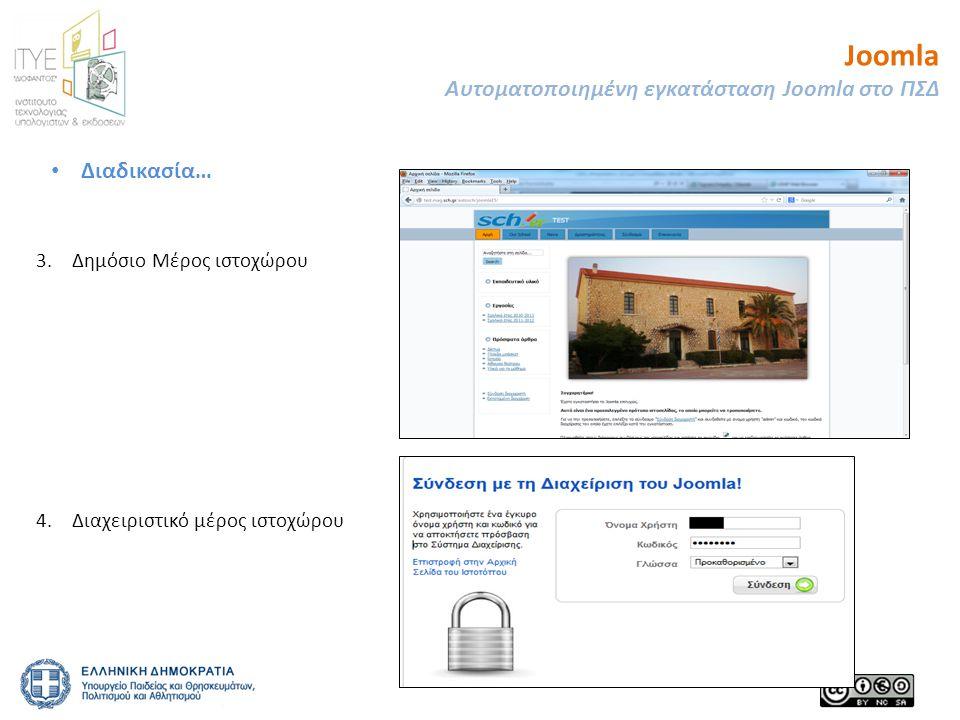 Joomla Αυτοματοποιημένη εγκατάσταση Joomla στο ΠΣΔ 23 3.Δημόσιο Μέρος ιστοχώρου 4.Διαχειριστικό μέρος ιστοχώρου • Διαδικασία…
