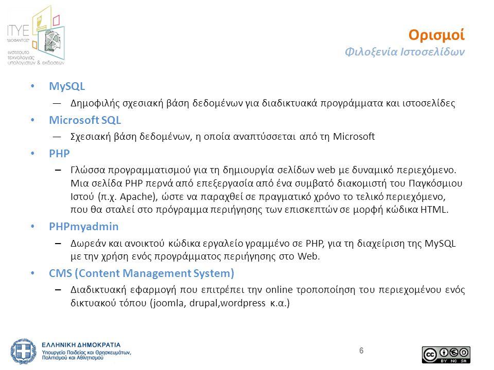 Ορισμοί Φιλοξενία Ιστοσελίδων • MySQL ―Δημοφιλής σχεσιακή βάση δεδομένων για διαδικτυακά προγράμματα και ιστοσελίδες • Microsoft SQL ―Σχεσιακή βάση δεδομένων, η οποία αναπτύσσεται από τη Microsoft • PHP – Γλώσσα προγραμματισμού για τη δημιουργία σελίδων web με δυναμικό περιεχόμενο.