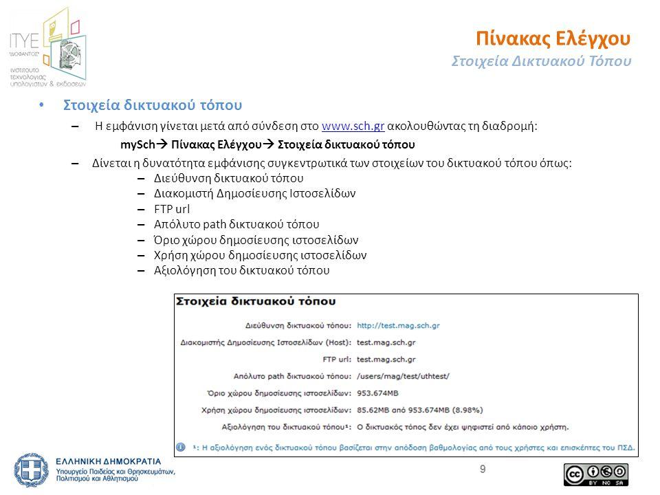 Πίνακας Ελέγχου Στοιχεία Δικτυακού Τόπου • Στοιχεία δικτυακού τόπου – Η εμφάνιση γίνεται μετά από σύνδεση στο www.sch.gr ακολουθώντας τη διαδρομή:www.sch.gr mySch  Πίνακας Ελέγχου  Στοιχεία δικτυακού τόπου – Δίνεται η δυνατότητα εμφάνισης συγκεντρωτικά των στοιχείων του δικτυακού τόπου όπως: – Διεύθυνση δικτυακού τόπου – Διακομιστή Δημοσίευσης Ιστοσελίδων – FTP url – Απόλυτο path δικτυακού τόπου – Όριο χώρου δημοσίευσης ιστοσελίδων – Χρήση χώρου δημοσίευσης ιστοσελίδων – Αξιολόγηση του δικτυακού τόπου 9