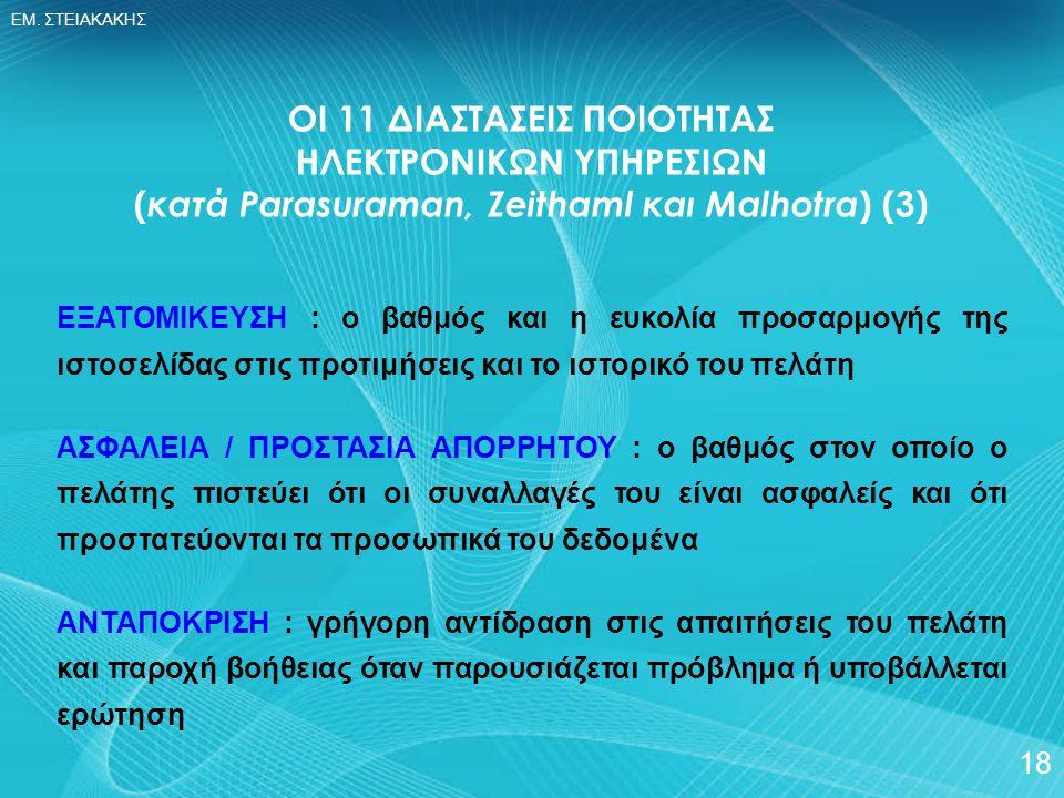 ΕΜ. ΣΤΕΙΑΚΑΚΗΣ 18 ΟΙ 11 ΔΙΑΣΤΑΣΕΙΣ ΠΟΙΟΤΗΤΑΣ ΗΛΕΚΤΡΟΝΙΚΩΝ ΥΠΗΡΕΣΙΩΝ ( κατά Parasuraman, Zeithaml και Malhotra ) (3) ΕΞΑΤΟΜΙΚΕΥΣΗ : ο βαθμός και η ευκο