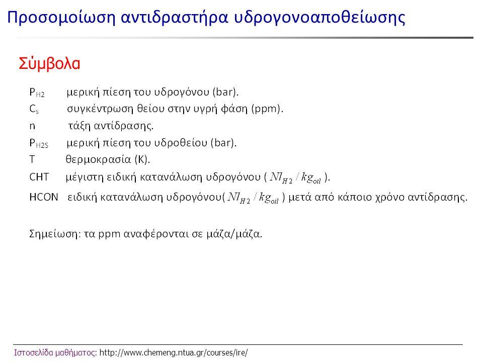 Ιστοσελίδα μαθήματος: http://www.chemeng.ntua.gr/courses/ire/ Σύμβολα Προσομοίωση αντιδραστήρα υδρογονοαποθείωσης
