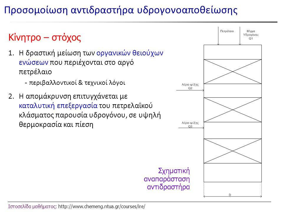 Ιστοσελίδα μαθήματος: http://www.chemeng.ntua.gr/courses/ire/ Σχηματική αναπαράσταση αντιδραστήρα Προσομοίωση αντιδραστήρα υδρογονοαποθείωσης Κίνητρο – στόχος 1.Η δραστική μείωση των οργανικών θειούχων ενώσεων που περιέχονται στο αργό πετρέλαιο - περιβαλλοντικοί & τεχνικοί λόγοι 2.Η απομάκρυνση επιτυγχάνεται με καταλυτική επεξεργασία του πετρελαϊκού κλάσματος παρουσία υδρογόνου, σε υψηλή θερμοκρασία και πίεση
