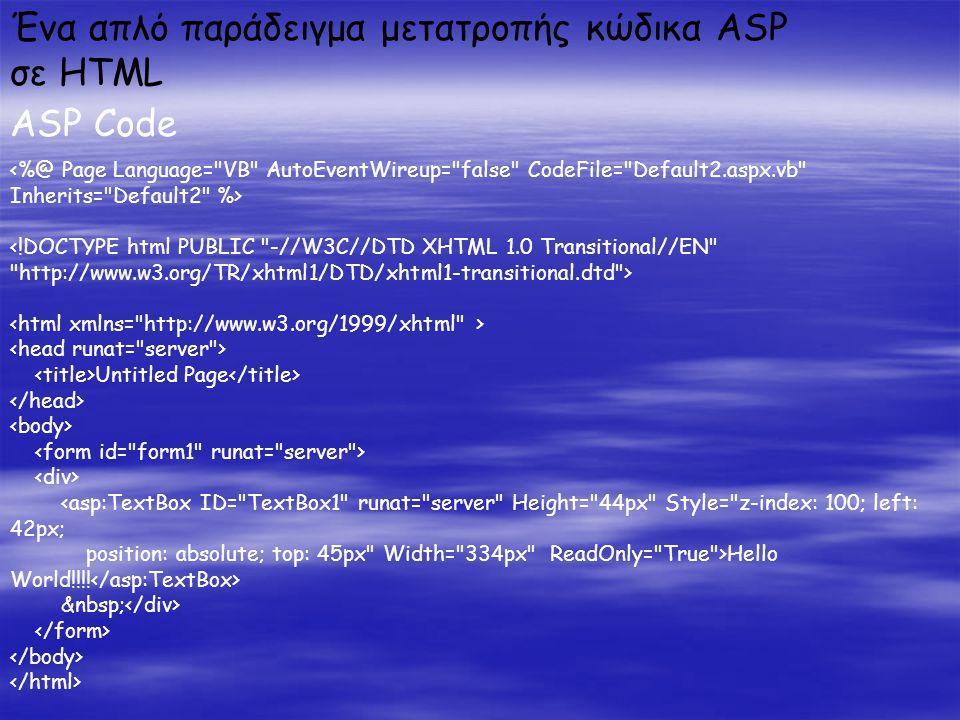 Ένα απλό παράδειγμα μετατροπής κώδικα ASP σε HTML ASP Code Untitled Page <asp:TextBox ID= TextBox1 runat= server Height= 44px Style= z-index: 100; left: 42px; position: absolute; top: 45px Width= 334px ReadOnly= True >Hello World!!!!