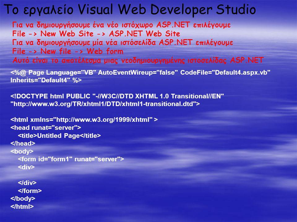 Untitled Page Το εργαλείο Visual Web Developer Studio Για να δημιουργήσουμε ένα νέο ιστόχωρο ASP.NET επιλέγουμε File -> New Web Site -> ASP.NET Web Site Για να δημιουργήσουμε μία νέα ιστόσελίδα ASP.NET επιλέγουμε File -> New file -> Web form Αυτό είναι το αποτέλεσμα μιας νεοδημιουργημένης ιστοσελίδας ASP.NET