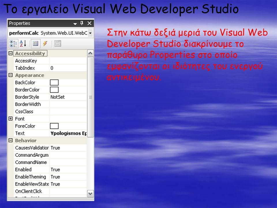 Το εργαλείο Visual Web Developer Studio Στην κάτω δεξιά μεριά του Visual Web Developer Studio διακρίνουμε το παράθυρο Properties στο οποίο εμφανίζονται οι ιδιότητες του ενεργού αντικειμένου.