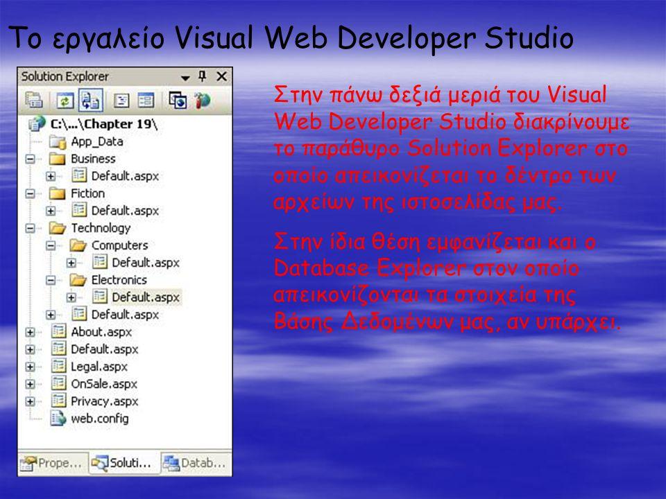 Στην πάνω δεξιά μεριά του Visual Web Developer Studio διακρίνουμε το παράθυρο Solution Explorer στο οποίο απεικονίζεται το δέντρο των αρχείων της ιστοσελίδας μας.
