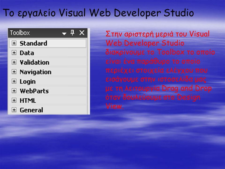 Το εργαλείο Visual Web Developer Studio Στην αριστερή μεριά του Visual Web Developer Studio διακρίνουμε το Toolbox το οποίο είναι ένα παράθυρο το οποίο περιέχει στοιχεία ελέγχου που εισάγουμε στην ιστοσελίδα μας με τη λειτουργία Drag and Drop όταν δουλεύουμε στο Design View.