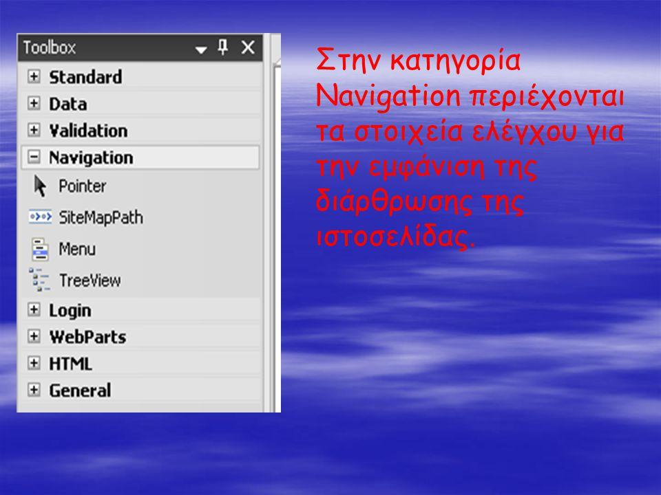 Στην κατηγορία Navigation περιέχονται τα στοιχεία ελέγχου για την εμφάνιση της διάρθρωσης της ιστοσελίδας.