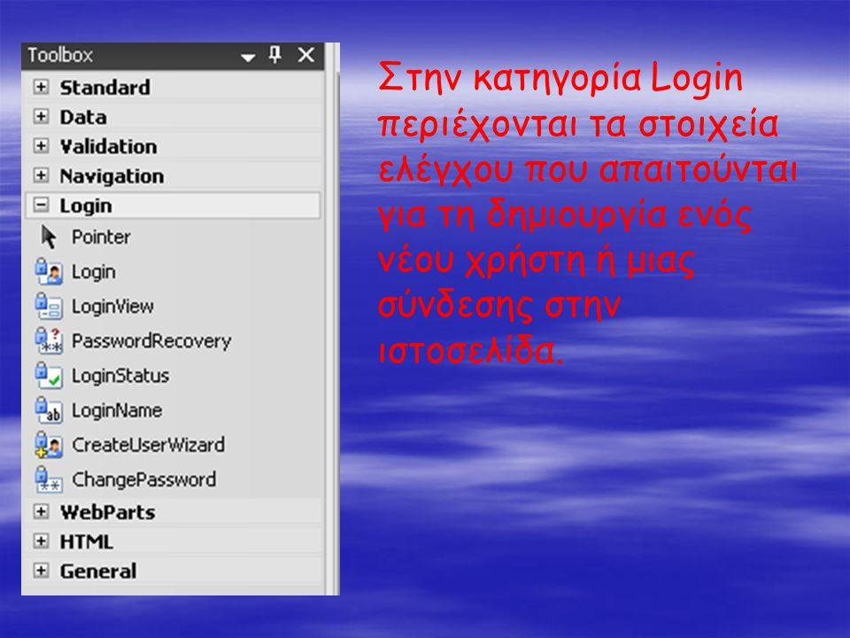 Στην κατηγορία Login περιέχονται τα στοιχεία ελέγχου που απαιτούνται για τη δημιουργία ενός νέου χρήστη ή μιας σύνδεσης στην ιστοσελίδα.