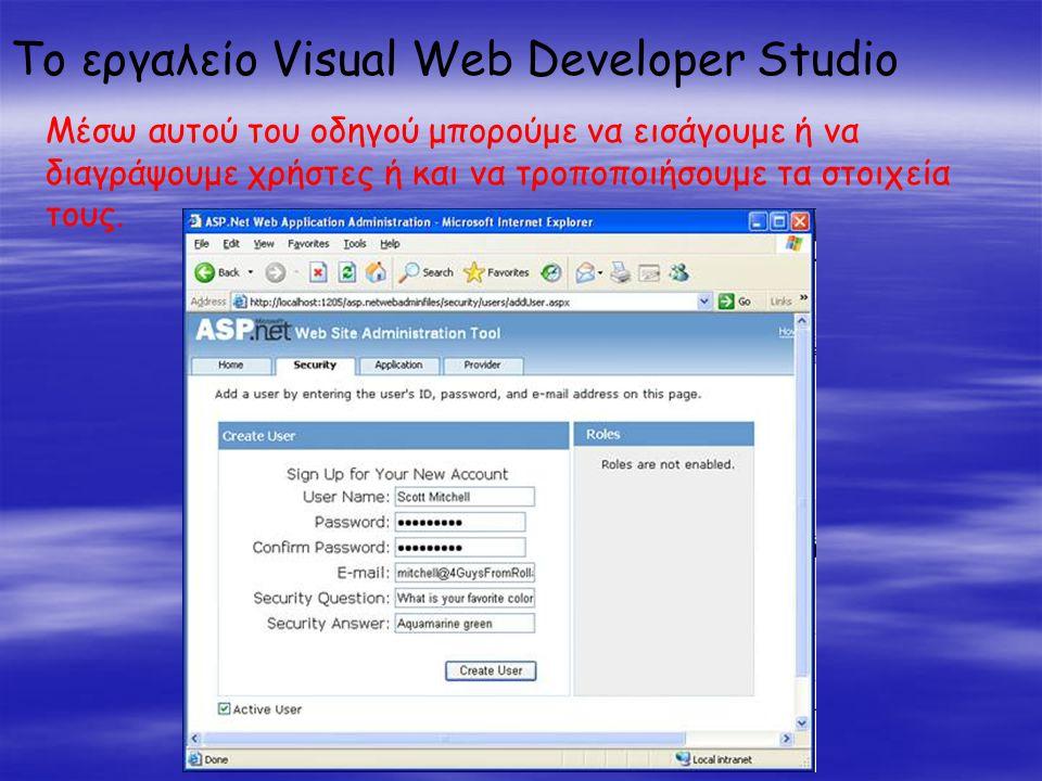 Το εργαλείο Visual Web Developer Studio Μέσω αυτού του οδηγού μπορούμε να εισάγουμε ή να διαγράψουμε χρήστες ή και να τροποποιήσουμε τα στοιχεία τους.