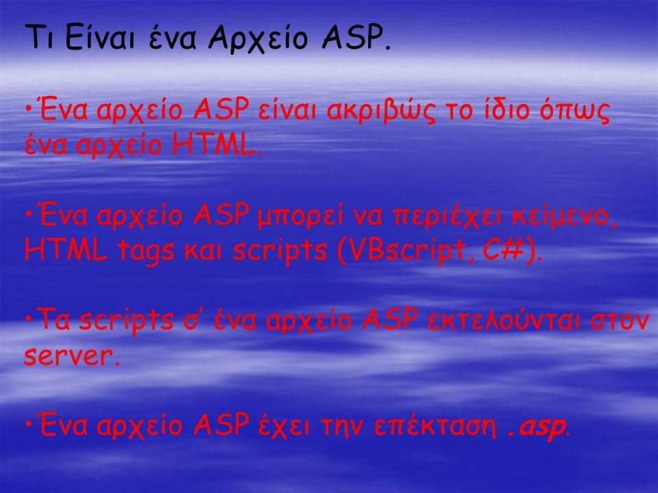 Τι Είναι ένα Αρχείο ASP. •Ένα αρχείο ASP είναι ακριβώς το ίδιο όπως ένα αρχείο HTML.
