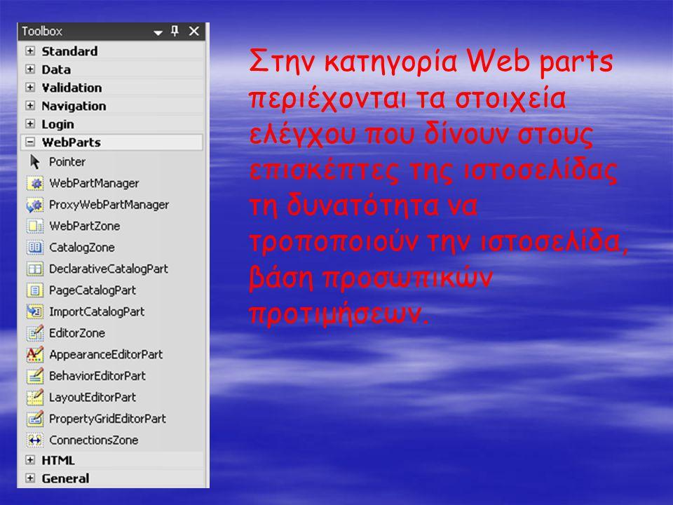 Στην κατηγορία Web parts περιέχονται τα στοιχεία ελέγχου που δίνουν στους επισκέπτες της ιστοσελίδας τη δυνατότητα να τροποποιούν την ιστοσελίδα, βάση προσωπικών προτιμήσεων.