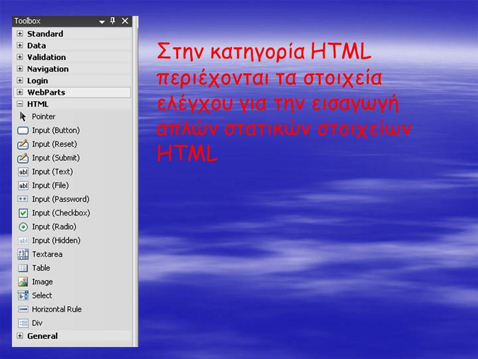 Στην κατηγορία HTML περιέχονται τα στοιχεία ελέγχου για την εισαγωγή απλών στατικών στοιχείων HTML