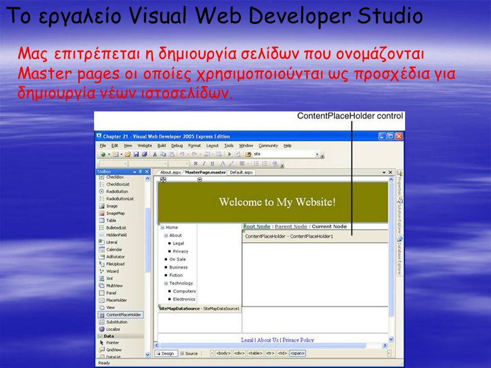 Το εργαλείο Visual Web Developer Studio Μας επιτρέπεται η δημιουργία σελίδων που ονομάζονται Master pages οι οποίες χρησιμοποιούνται ως προσχέδια για δημιουργία νέων ιστοσελίδων.