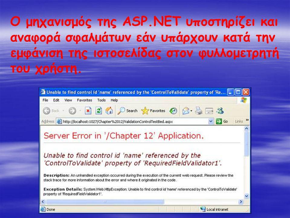 Ο μηχανισμός της ASP.NET υποστηρίζει και αναφορά σφαλμάτων εάν υπάρχουν κατά την εμφάνιση της ιστοσελίδας στον φυλλομετρητή του χρήστη.