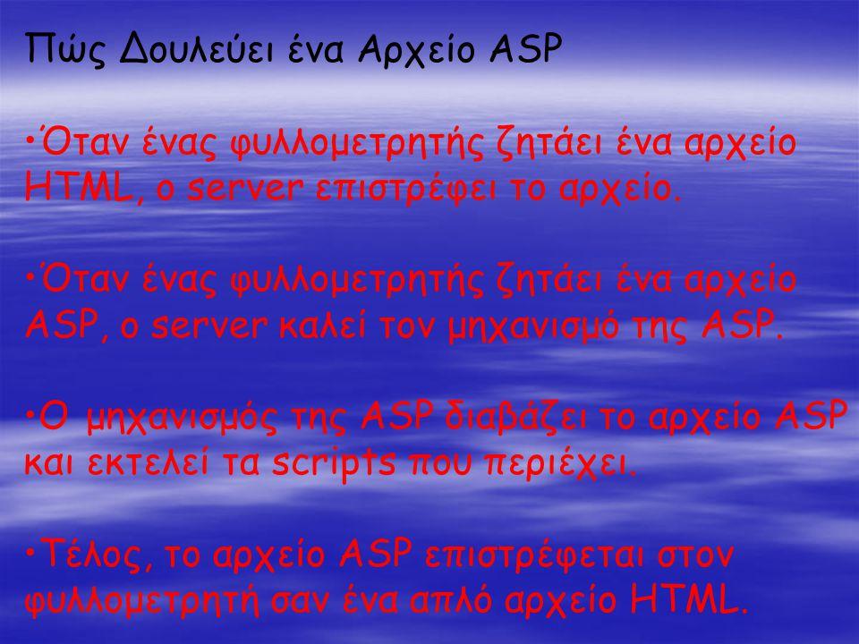 Πώς Δουλεύει ένα Αρχείο ASP •Όταν ένας φυλλομετρητής ζητάει ένα αρχείο HTML, ο server επιστρέφει το αρχείο.
