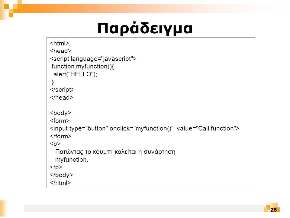 25 Παράδειγμα function myfunction(){ alert( HELLO ); } Πατώντας το κουμπί καλείται η συνάρτηση myfunction.