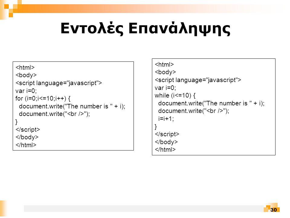 30 Εντολές Επανάληψης var i=0; for (i=0;i<=10;i++) { document.write( The number is + i); document.write( ); } var i=0; while (i<=10) { document.write( The number is + i); document.write( ); i=i+1; }
