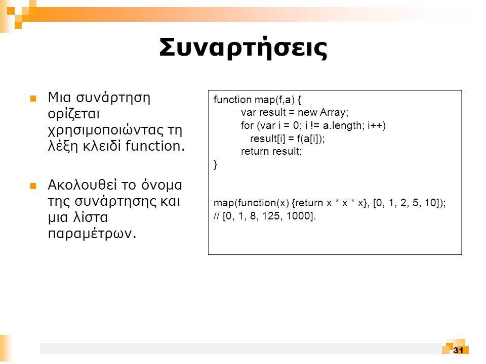 31 Συναρτήσεις  Μια συνάρτηση ορίζεται χρησιμοποιώντας τη λέξη κλειδί function.