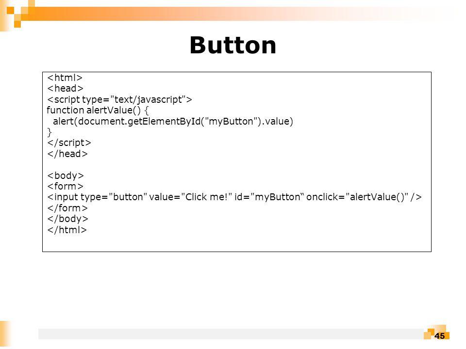 45 Button function alertValue() { alert(document.getElementById( myButton ).value) }