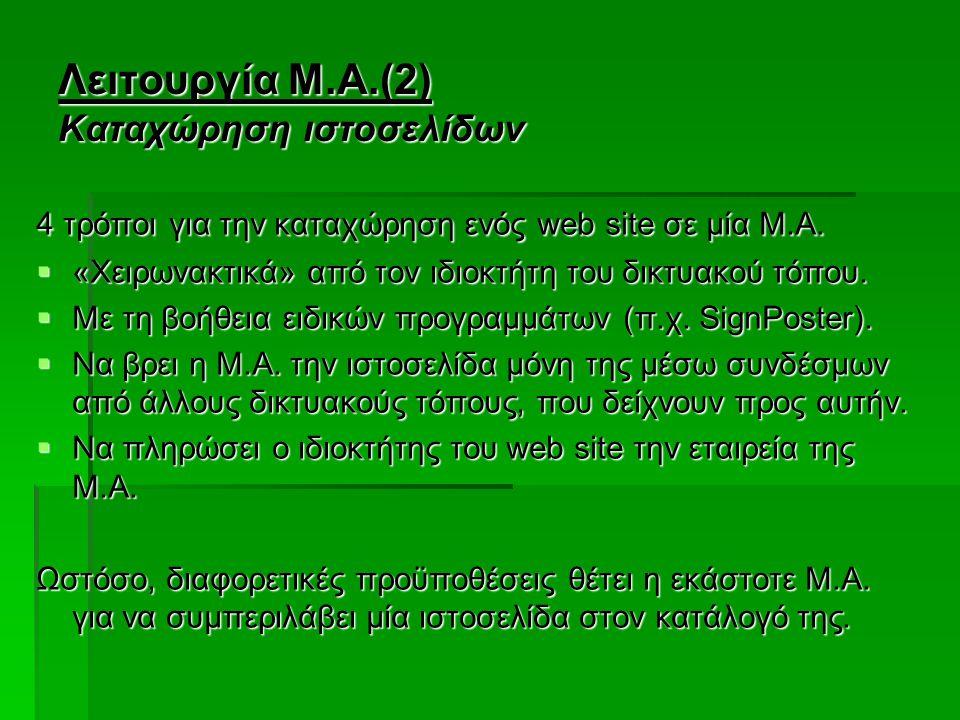 Λειτουργία Μ.Α.(2) Καταχώρηση ιστοσελίδων 4 τρόποι για την καταχώρηση ενός web site σε μία Μ.Α.  «Χειρωνακτικά» από τον ιδιοκτήτη του δικτυακού τόπου